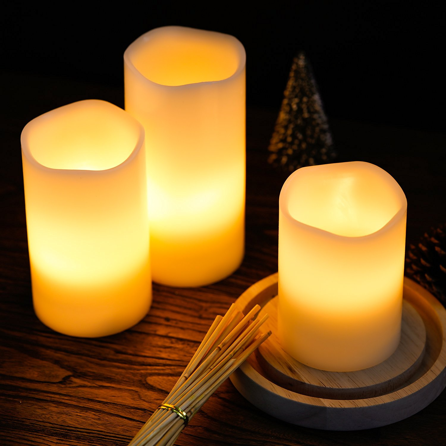 kohree real wax flameless candles battery operated led candles lights remote control candles with timer pack of 3 walmartcom - Flameless Candles With Timer