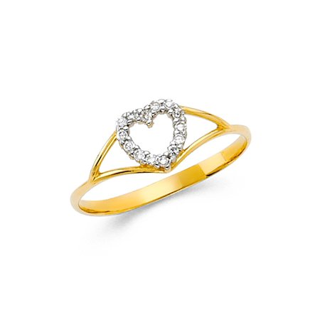 Womens 14K Solid Yellow Gold Unique Heart Cubic Zirconia Fancy Ring, Size 9 (Yellow Gold Fancy Ring)