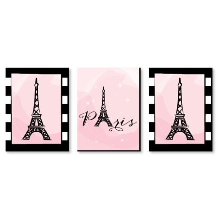 "Paris, Ooh La La - Baby Girl Nursery Wall Art, Kids Room Decor & Eiffel Tower Home Decorations - 7.5"" x 10"" -Set of 3 Ct for $<!---->"