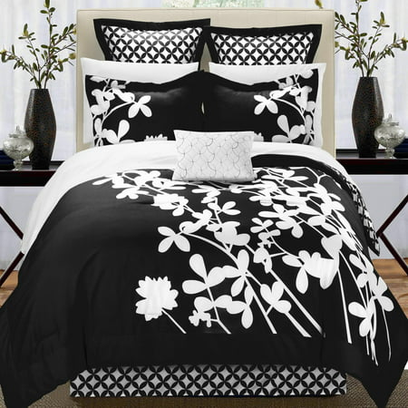 Black White Comforter Sets - Iris Black & White 7 Piece Comforter Bed In A Bag Set