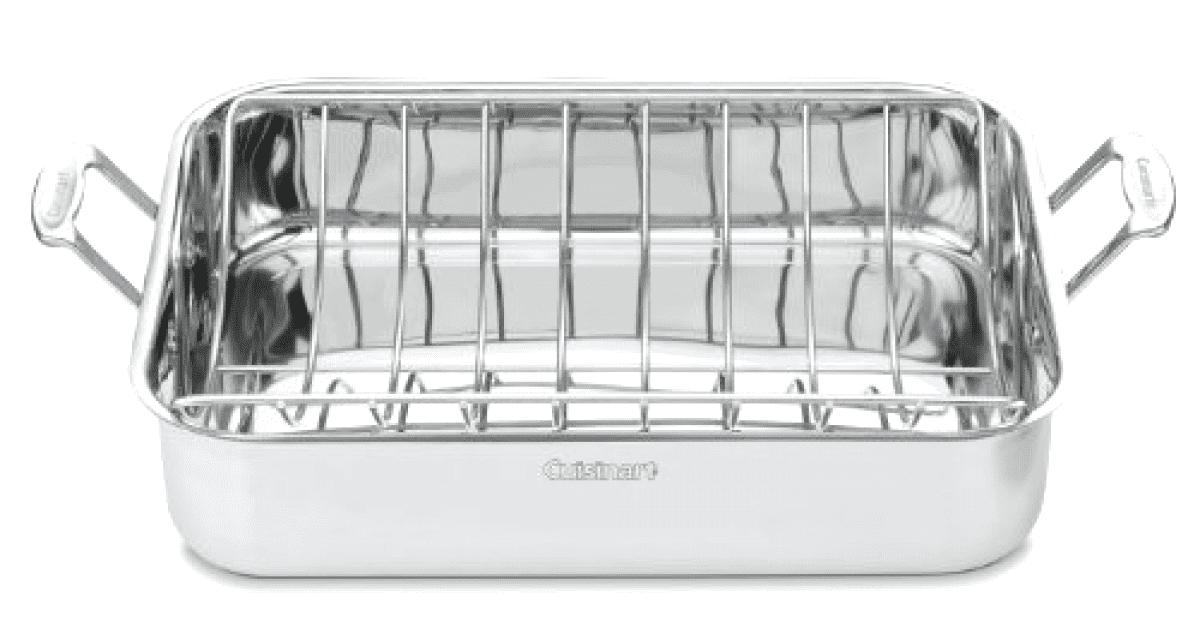 "16"" Inch Roasting Pan & Stainless Steel Roasting Rack-Dishwasher Safe-Free Ship by"