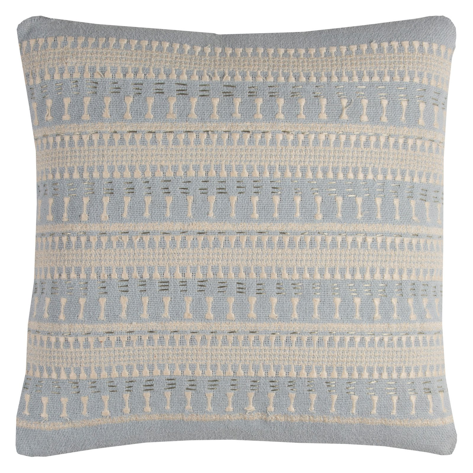 "Rizzy Home Stripe Textured Cotton Decorative Throw Pillow, 20"" x 20"", Light Blue"