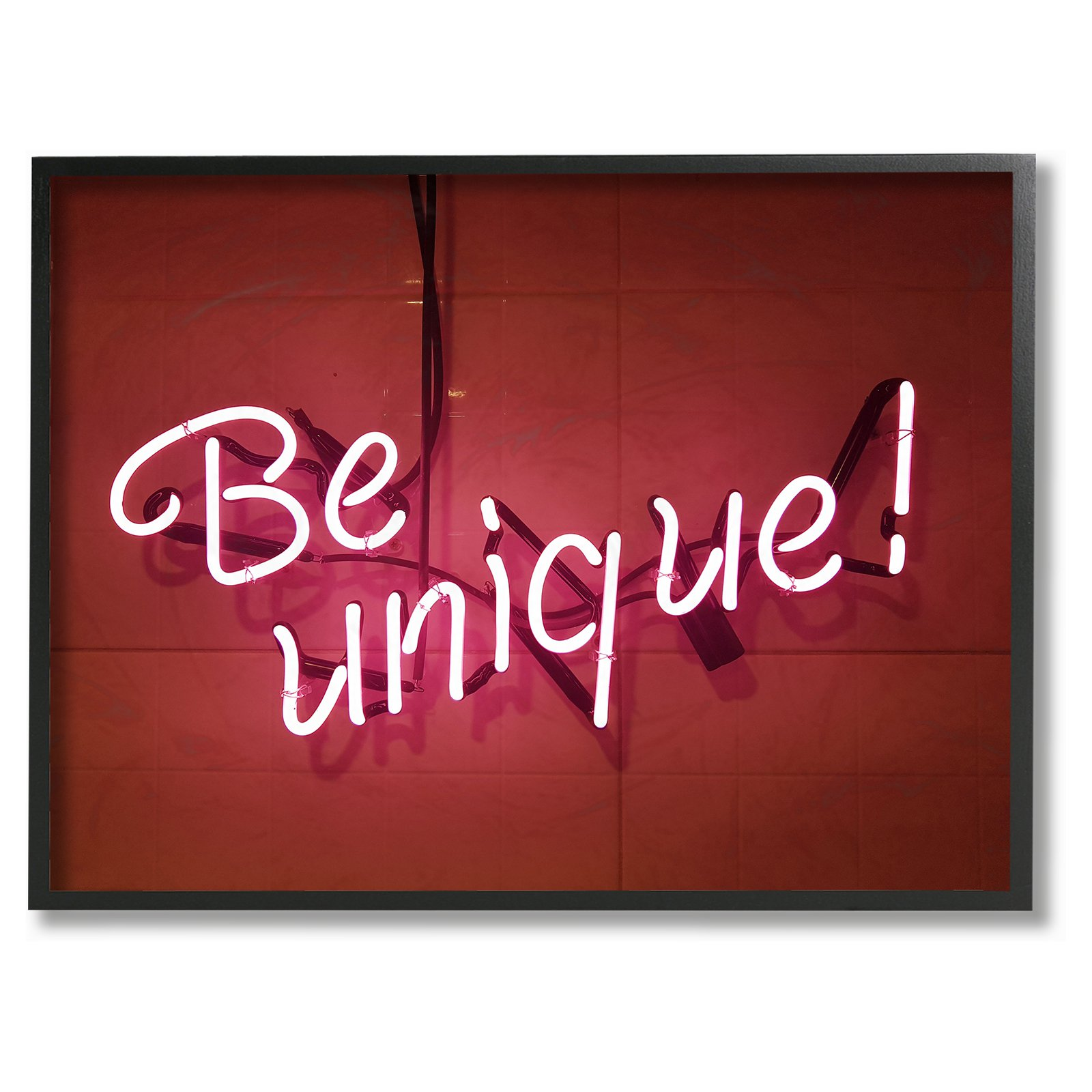 Stupell Decor Be Unique Neon Sign Photography Framed Giclee Texturized Art