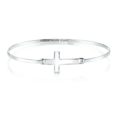Sterling Silver Sideways Cross Engraved Bangle Bracelet, 8""