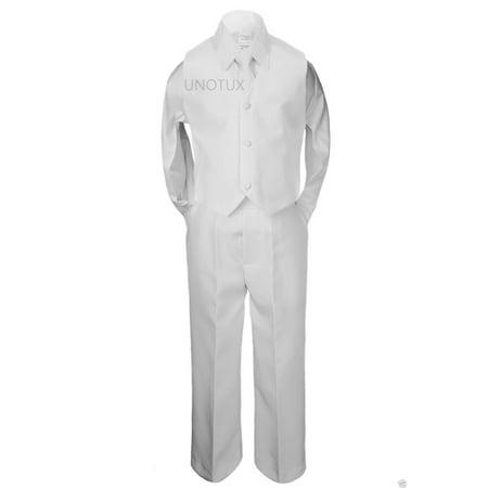 4pc Boy Formal 1st Communion Christening Uniform Baptism Wedding Suit White S-20