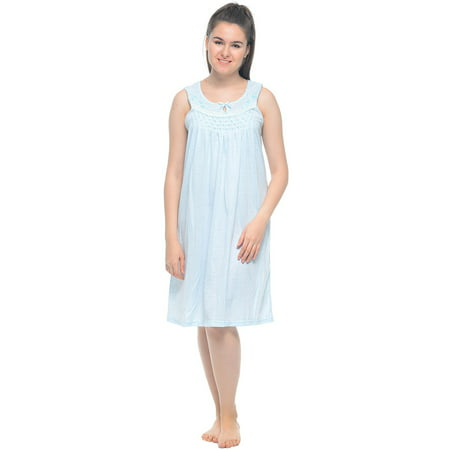 Gorgeous Printed Gown - Casual Nights Women's Sleeveless Embroidered Pointelle Nightgown