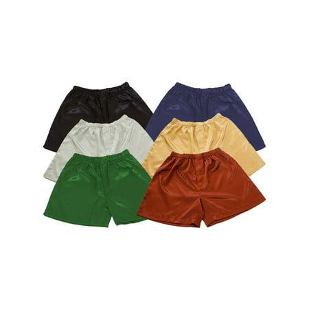 Up2date Fashion's Men's Satin Shorts / Boxers 6-Piece Multi-Color Combo Pack (MSC-6B01) Silver Black Boxer
