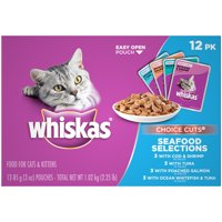 (12 Pack) WHISKAS CHOICE CUTS Seafood Selections Variety Pack Wet Cat Food, 3 oz. Pouches
