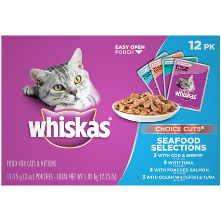 (12 Pack) Whiskas Choice Cuts Seafood Selections Variety Pack Wet Cat Food, 3 oz.