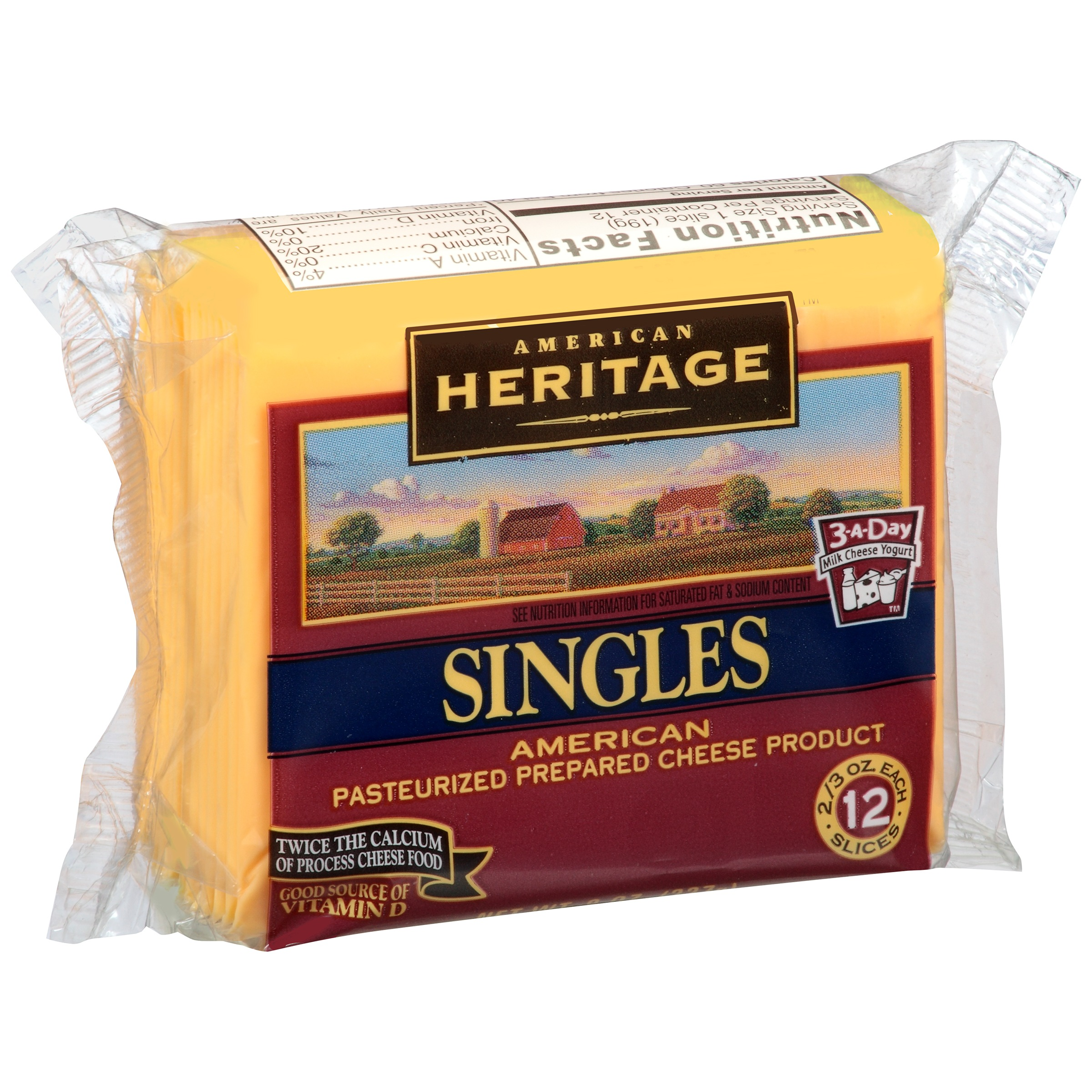 American Heritage American Pasteurized Prepared Cheese Singles, 12 Count