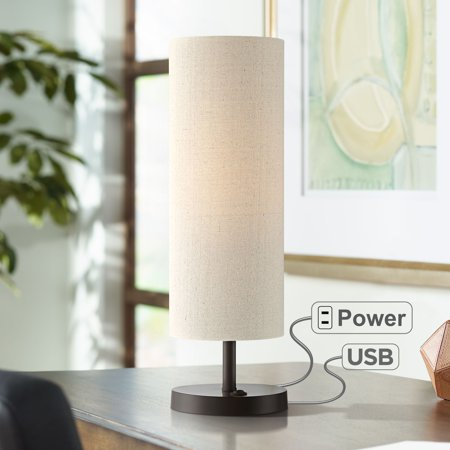 360 Lighting Modern Accent Table Lamp with Hotel Style USB and AC Power Outlet in Base Dark Bronze Oatmeal Cylinder Shade for Bedroom Office