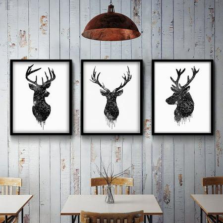 Moaere Deer Head Animal Minimalist Canvas Print Poster Watercolor Painting Modern Decor Unframed