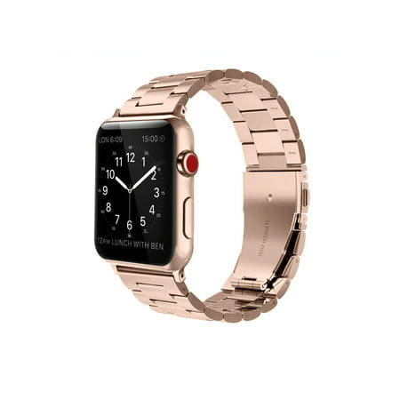 - For Apple Watch Band 42mm Solid Stainless Steel Metal Replacement Wrist Bands for Apple Watch Series 3 / 2 / 1 Rose Gold