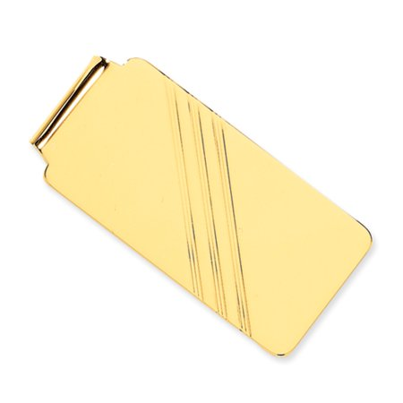 Golf Money Clips - Men's 14k Yellow Gold Diagonal Striped Wide Money Clip