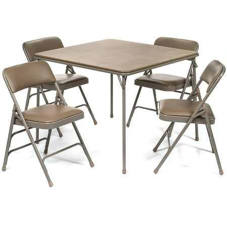 5pc. XL Series Folding Card Table and Triple Braced Vinyl Padded Chair Set, Commercial Quality, Beige ()