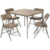 5pc. XL Series Folding Card Table and Triple Braced Vinyl Padded Chair Set, Commercial Quality, Beige