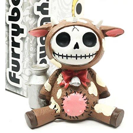 Hand Carved Cow Bone - Furry Bones Brown Moo Moo Milk Cow Skeleton Monster Sit Up Ornament Figurine