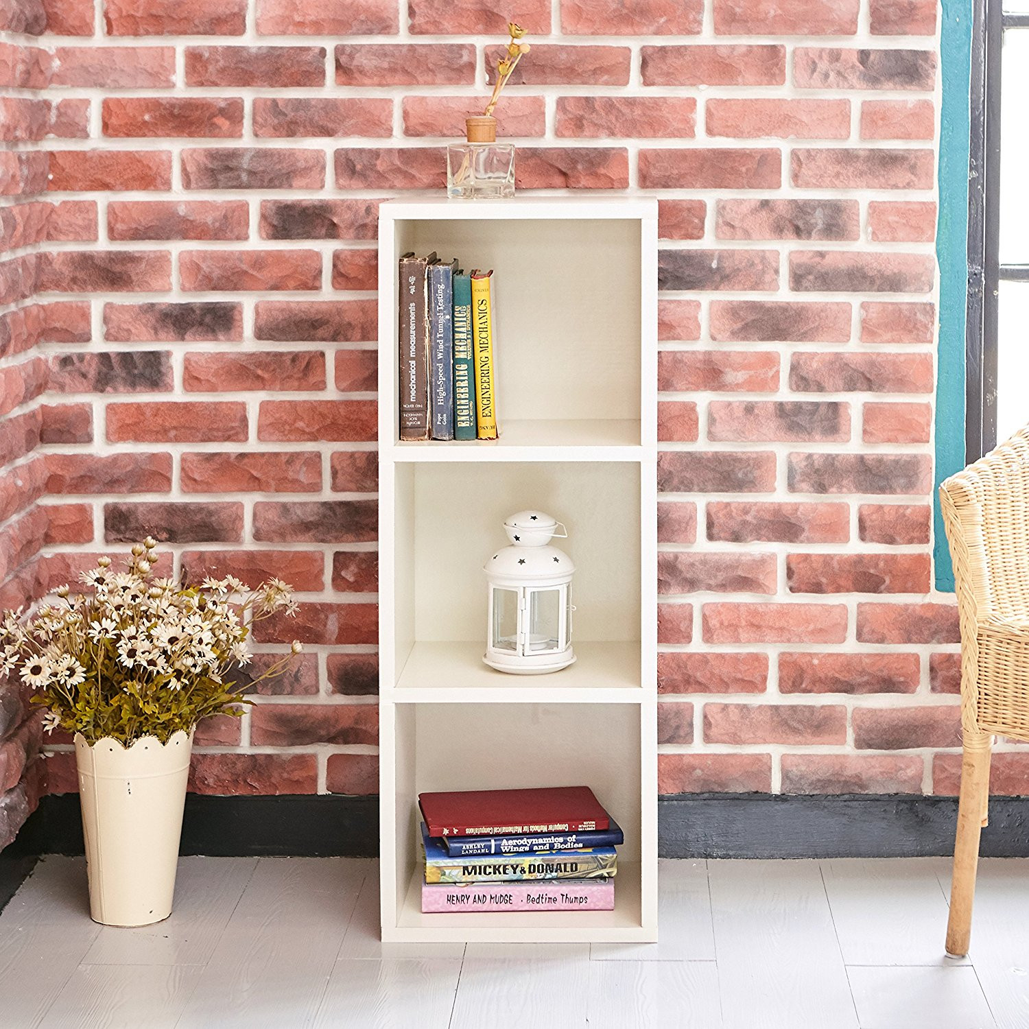 Wooden Bookcase, 3 Shelf Narrow Bookcase Stand Cube Storage Unit Bookshelf CD Display Shelving Unit free combination, Pure White