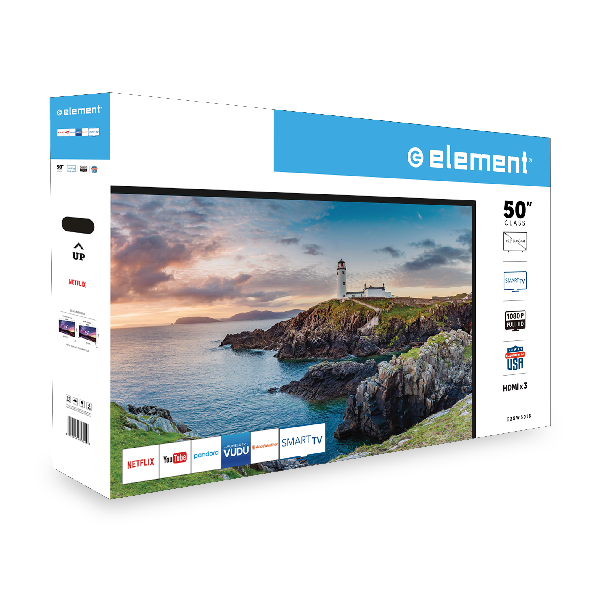 "ELEMENT 50"" Class FHD (1080P) Smart LED TV (E2SW5018) - Walmart com"