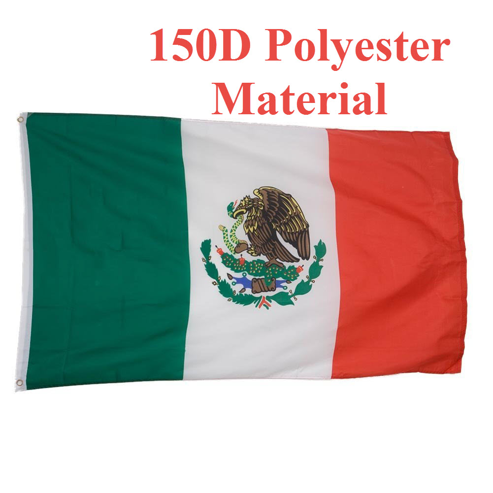 G128- Mexican Flag 3x5 ft Printed Brass Grommets 150D Quality Polyester Flag...