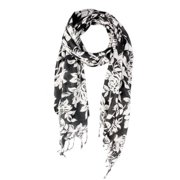 In Things Corp Handmade Saachi Women's White and Black Floral Scarf (India)