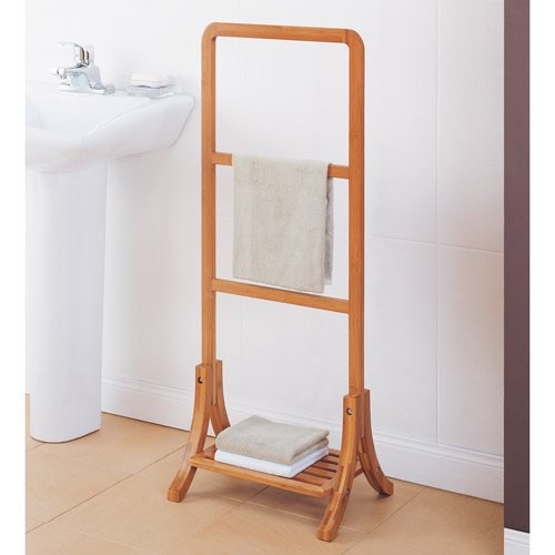 Average Height Of Towel Bar In Bathroom: Neu Home Lohas Collection Towel Rack, Carbonized Bamboo