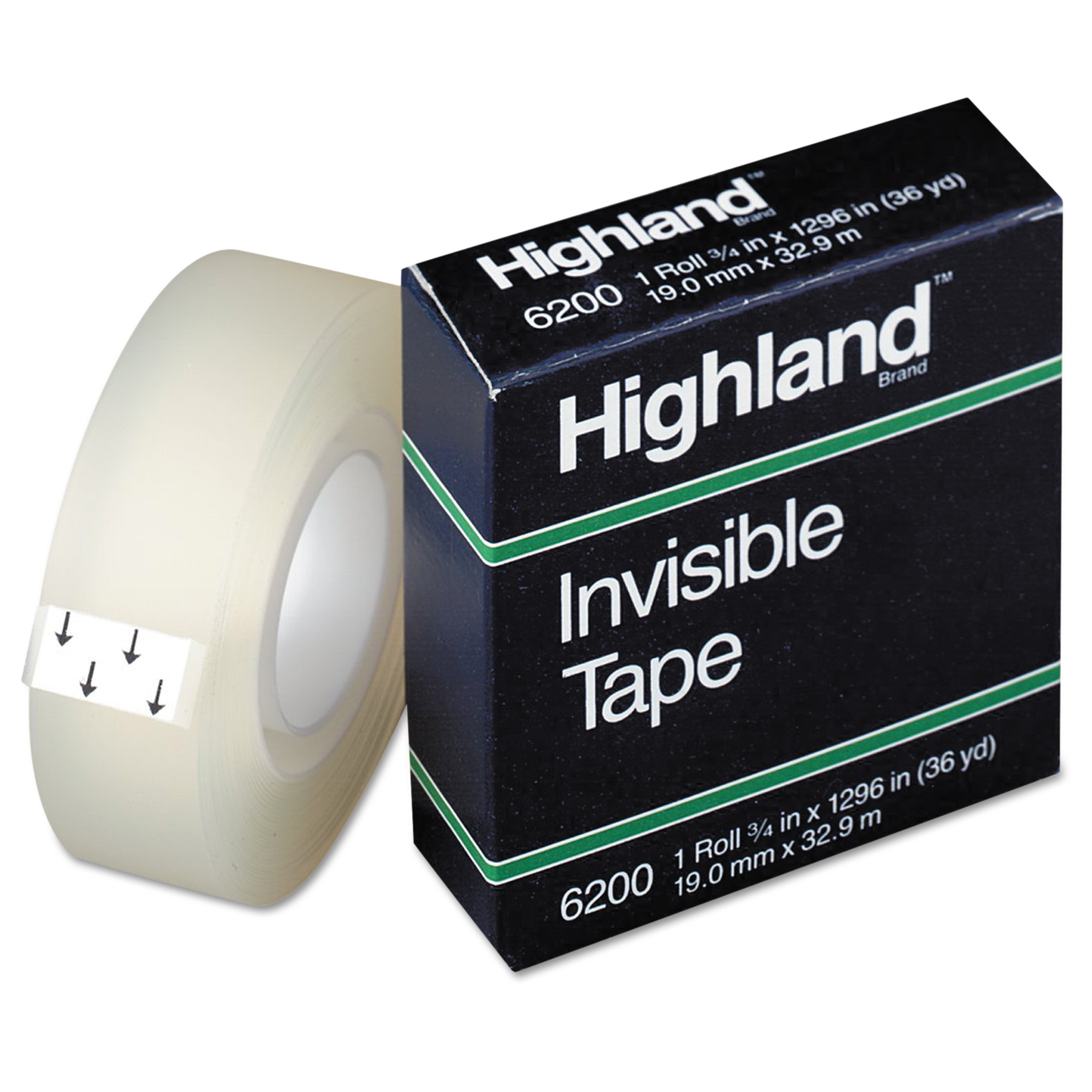 "Highland Invisible Permanent Mending Tape, 3/4"" x 1296"", 1"" Core, Clear"