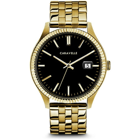 Caravelle Black Dial - Caravelle Men's Coin Edge Gold-Tone Stainless Steel Bracelet Black Dial Dress Watch 41mm