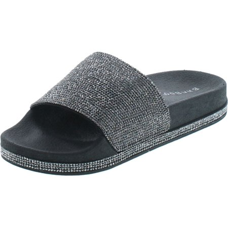 Bamboo Womens Dazzling-01S Open Toe Jeweled Rhinostone Slide Flip Flops Flat Sandal Slippers ()