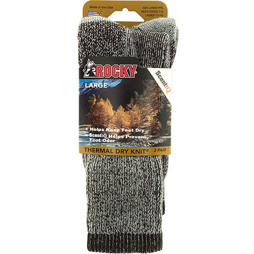 Rocky Thermal Dry Knit Crew Socks, 2pk