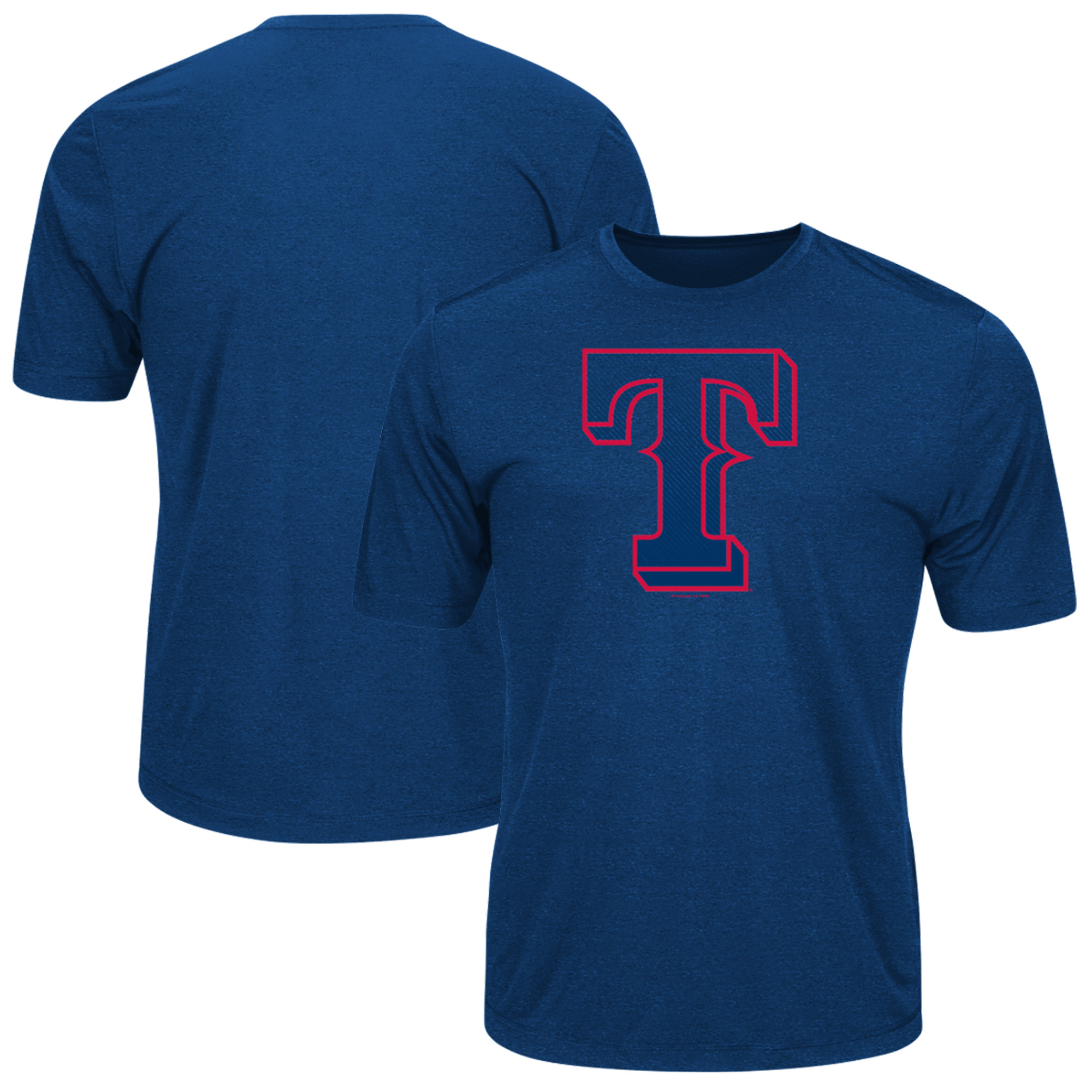 Men's Majestic Royal Texas Rangers Big & Tall Statement Logo T-Shirt