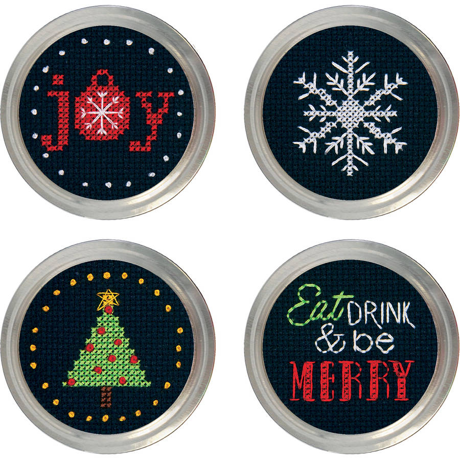 Holiday Cheer Jar Topper Counted Cross-Stitch Kit, Set of 4