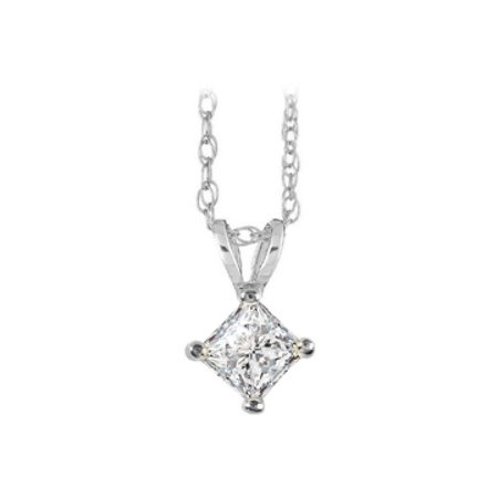 Diamond Solitaire Pendant 14K White Gold Fine Jewelry - image 1 of 2