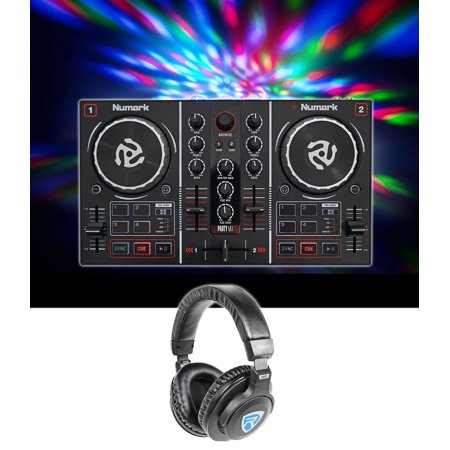 Numark Party Mix Virtual DJ Controller Built In Light Show+Sound Card+Headphones - Halloween Light Show Timer With Sound