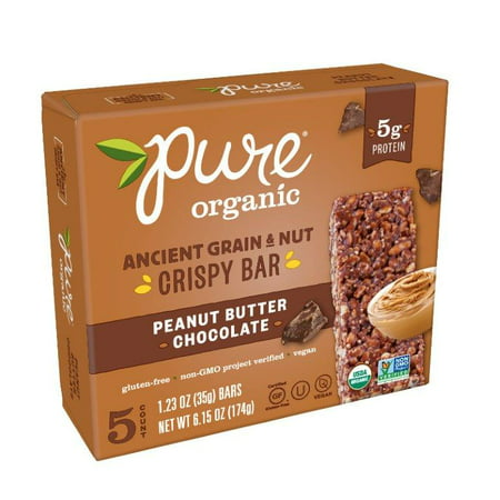 Pure Organic Peanut Butter Chocolate Ancient Grain & Nut Crispy Bar 6.15 oz 5 Ct
