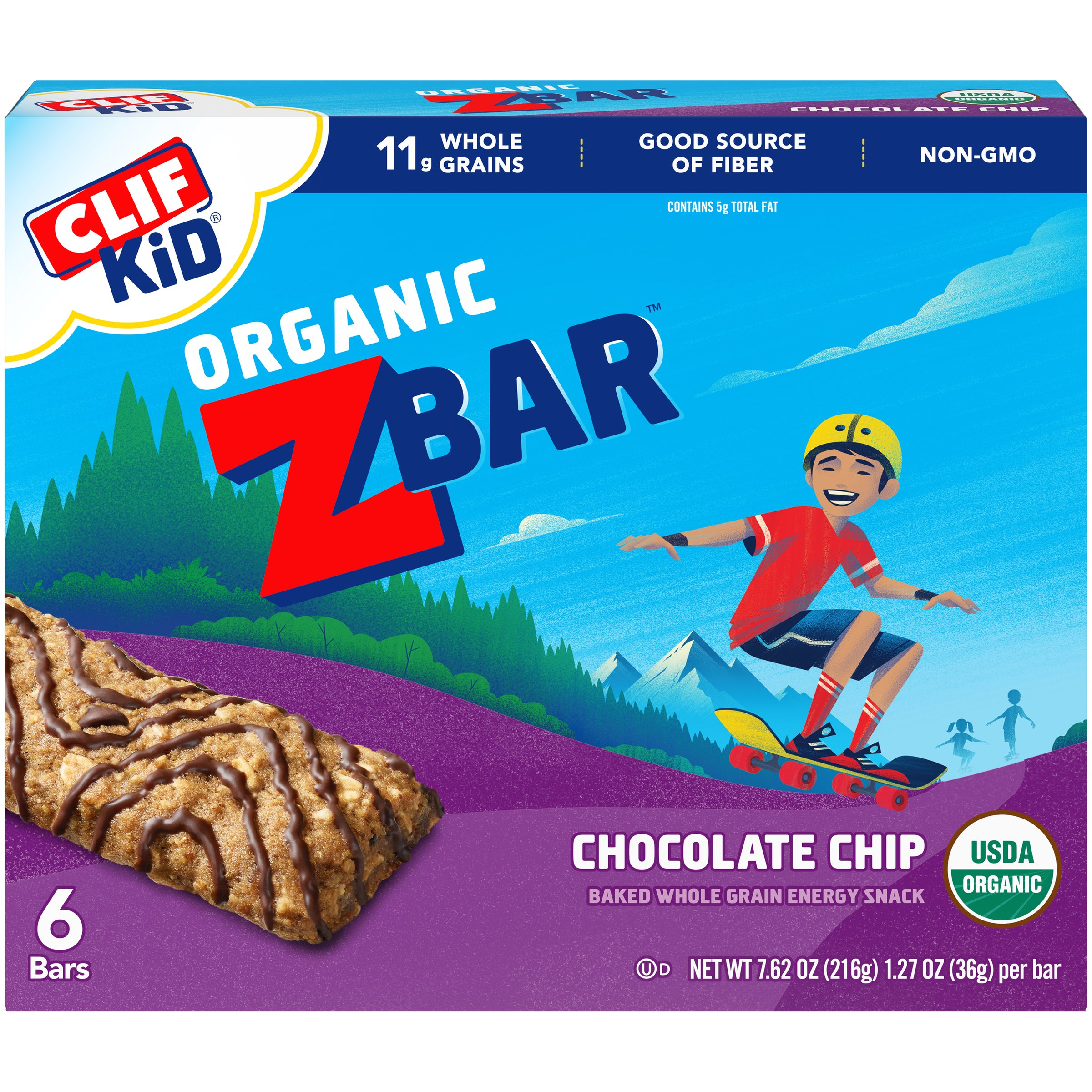 Clif Kid Organic Zbar, Chocolate Chip, 2g Protein, 6 Ct