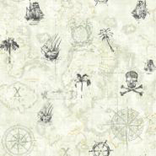 Cool Kids Pirate Map Wallpaper, Dove Grey/Medium Grey/Charcoal/Sand