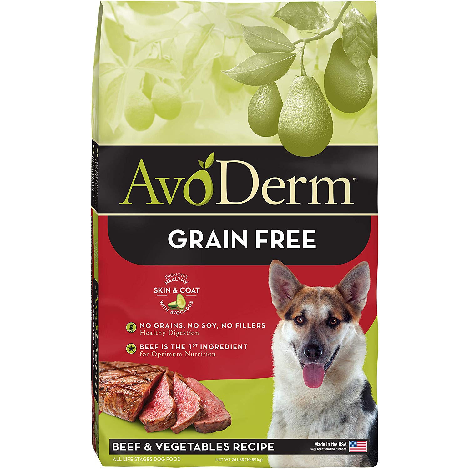 Avoderm Natural Grain Free, All Lifestages Dry Dog Food For Healthy Digestion, Beef & Vegetables Formula, 24 Pound Bag …