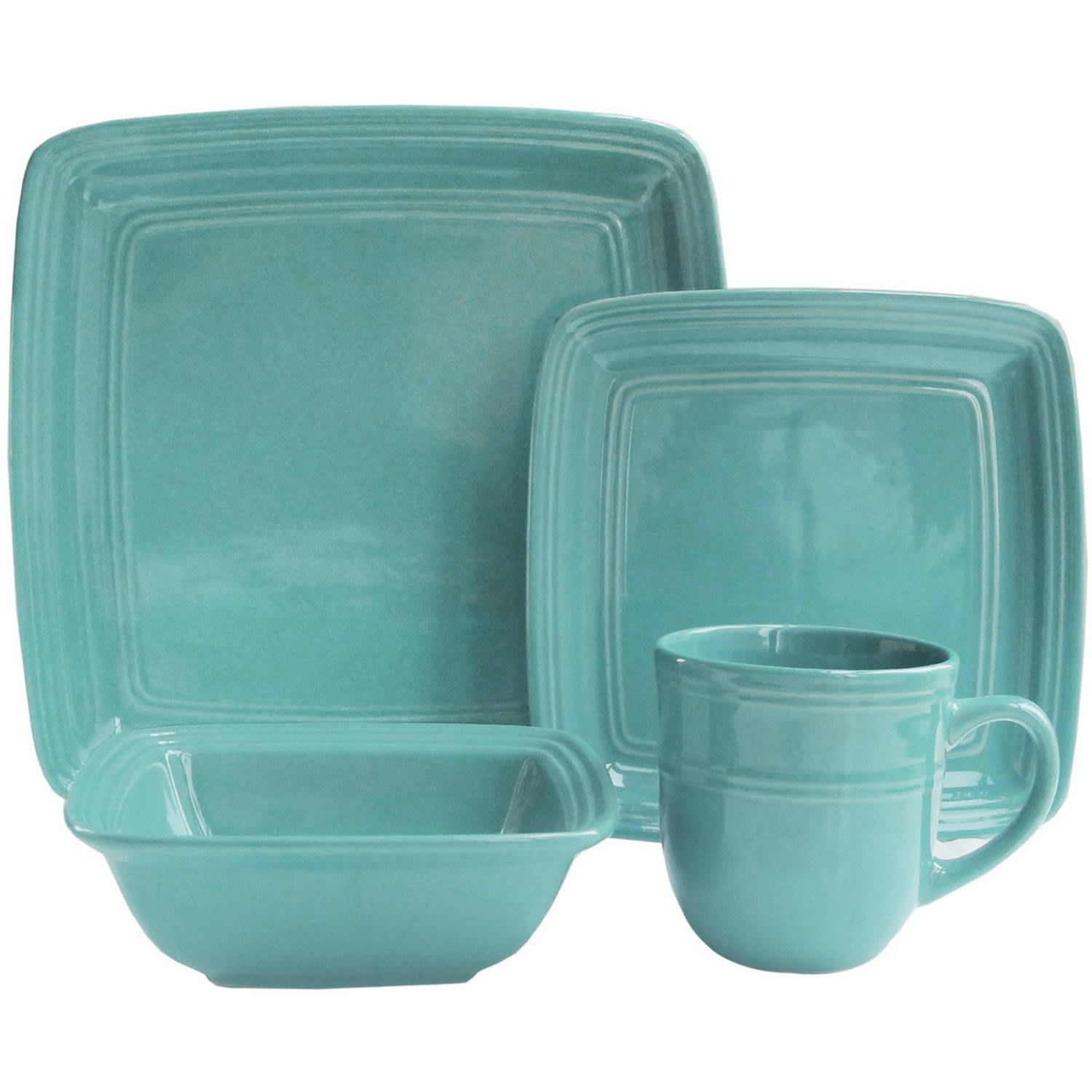 Madelyn Turquoise Square 16-Piece Dinnerware Set
