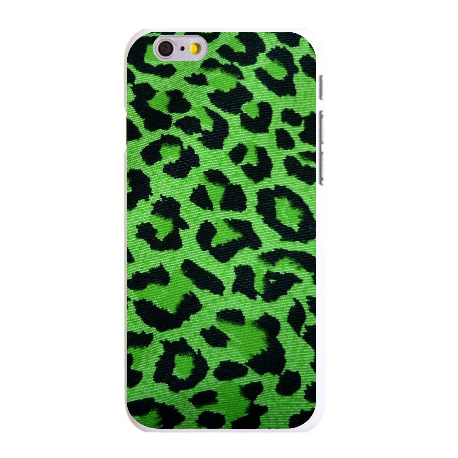 "CUSTOM White Hard Plastic Snap-On Case for Apple iPhone 6 / 6S (4.7"" Screen) - Green Black Leopard Skin Spots"