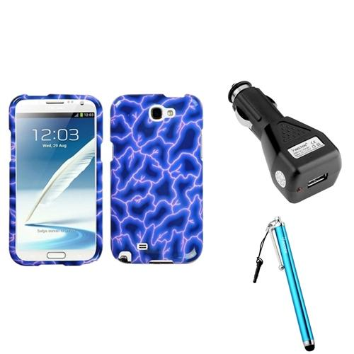 Insten Blue Lightning Hard Case+Car Charger Adapter+Stylus For Samsung Galaxy Note 2 II