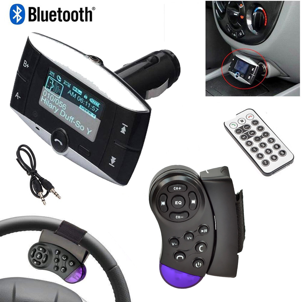 Wireless Bluetooth FM Transmitter Modulator Car Kit MP3 Player LCD Remote Bluetooth Kit Cars FM Modulator Listen to Streaming Music Player For Car Automotiver Hands Free Phone SD/USB Steering Wheel H