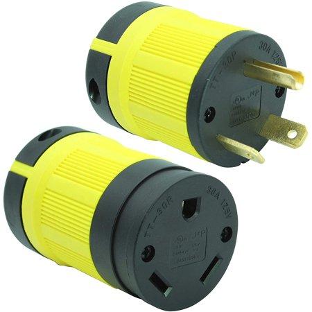 Journeyman-Pro 30 Amp, Plug & Connector Set, NEMA TT-30P + TT-30R, 125V, Straight Blade RV Trailer Plug Connector - image 1 of 5