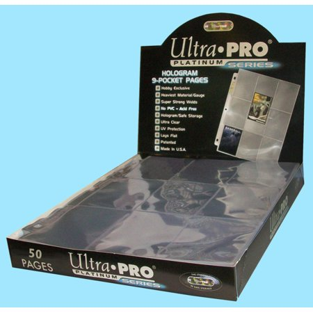50 Ultra Pro Platinum 9 Pocket Card Pages Sheets Protectors Baseball Storage