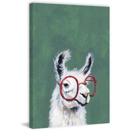 Red Llama Glasses Painting Print on Wrapped Canvas