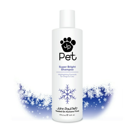 John Paul Pet Super Bright Shampoo for Dogs and Cats, Highlighting Formula Safely Whitens and Brightens Fur, 16-Ounce John Paul Pet Cat Shampoo