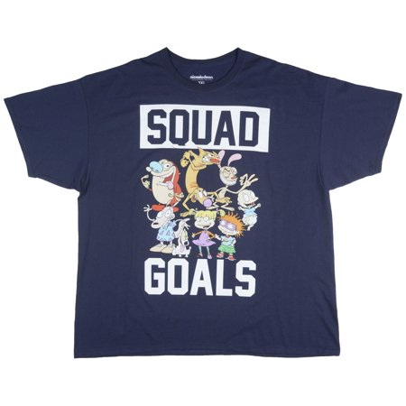 Nickelodeon Old School Cartoon Squad Big And Tall Retro Tv Show Tee Top Navy Men