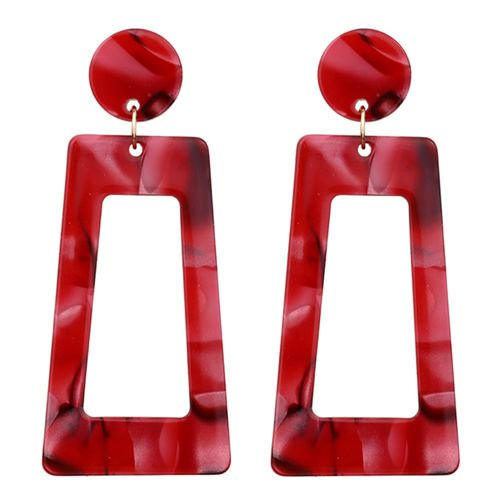 KABOER 1 Pair New Fashion Acrylic Trapezoid Color Earrings Women's Accessories Simple Earrings