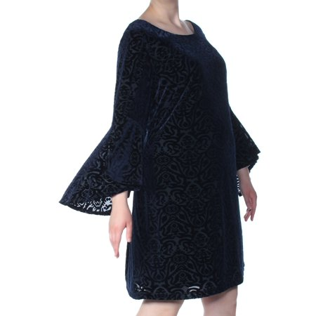 JESSICA HOWARD Womens Navy Bell Sleeve Jewel Neck Above The Knee Shift Formal Dress Plus  Size: 22W Jessica Howard Formal Dresses