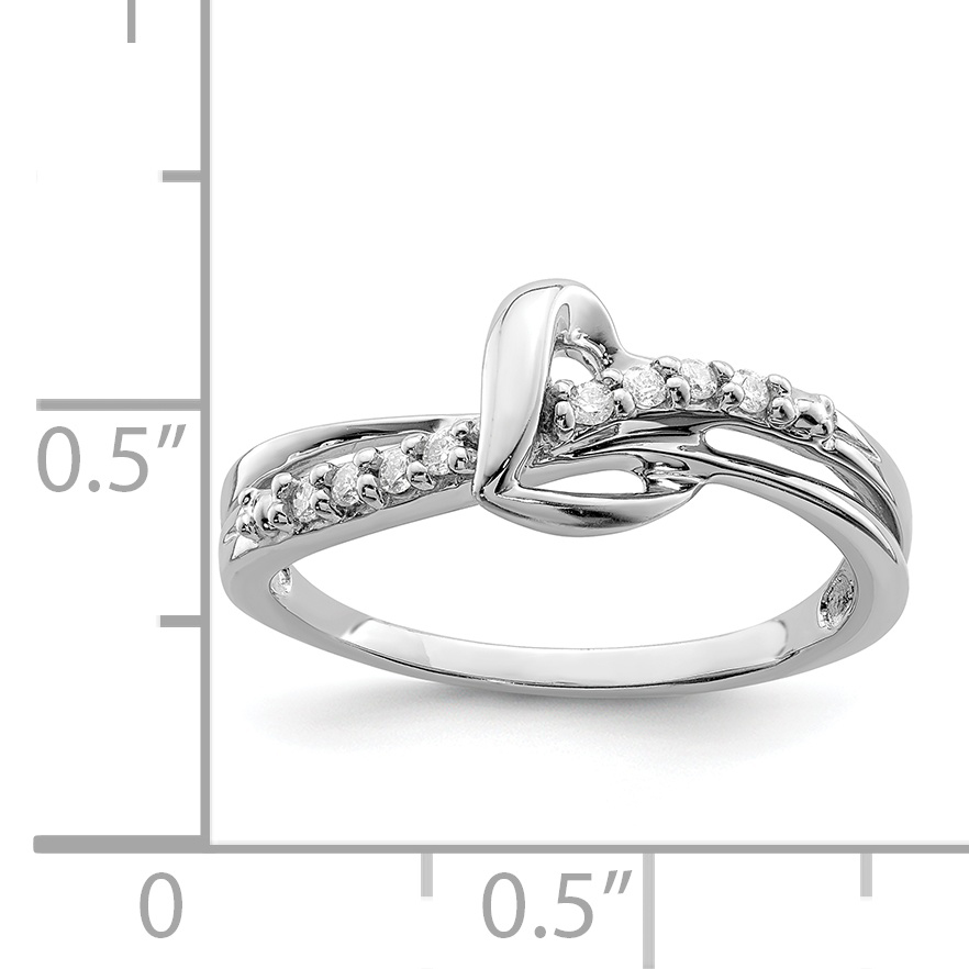 925 Sterling Silver Rhodium Plated Diamond Heart Ring - image 1 of 2